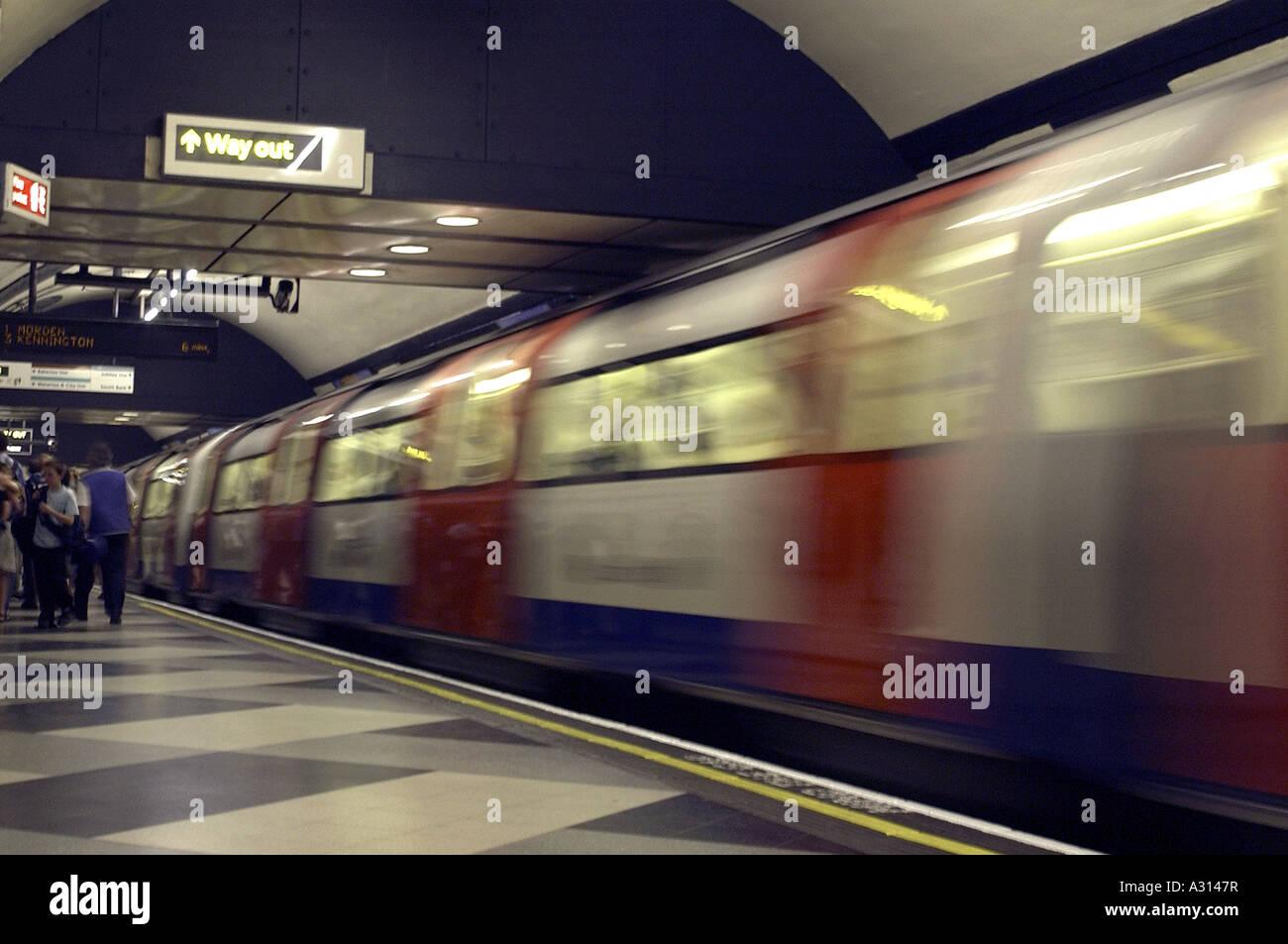 Royalty free photograph of British tube train London underground England UK - Stock Image