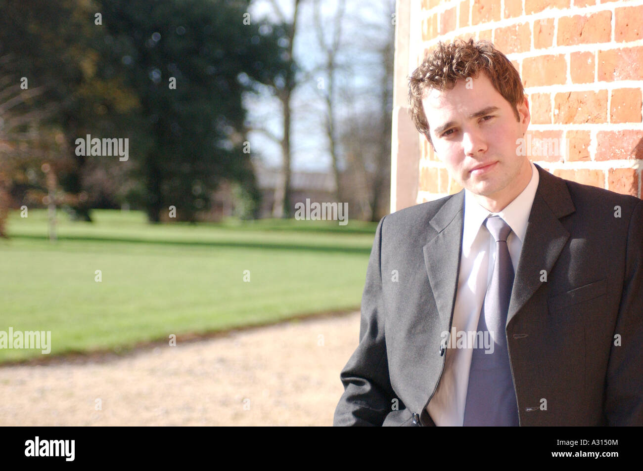 Royalty free photograph of British young business man outside office London UK - Stock Image