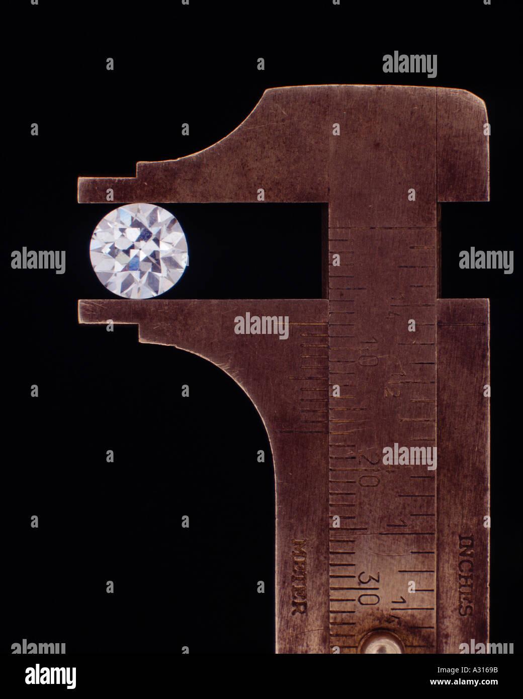 Diamond in Jewellers Calipers - Stock Image