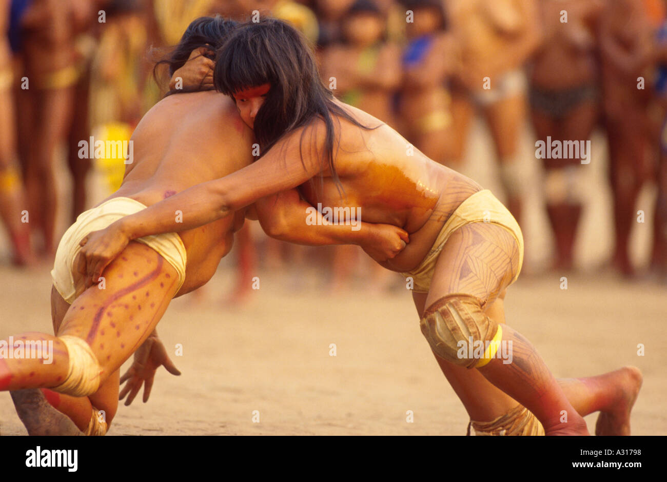 Huka Fight Xingu Amazon Rainforest Brazil Yamuricuma Party At Kamayura Tribe