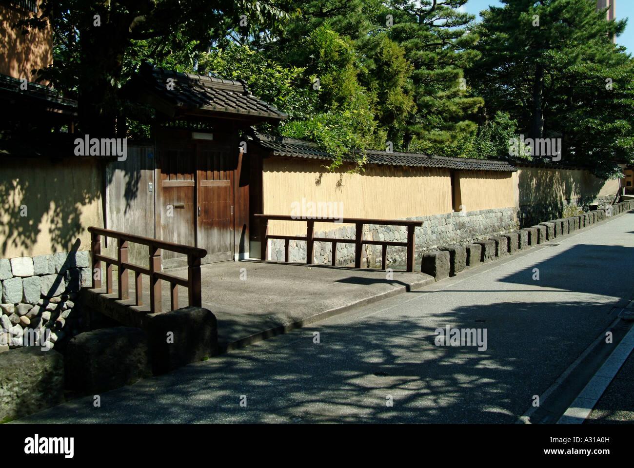 Old samurai's houses at Nagamachi district. Kanazawa. Ishikawa Prefecture. Japan Stock Photo
