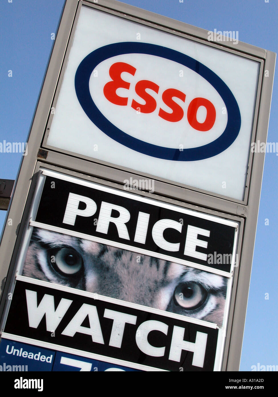 Esso Petrol Station corporate branding sign, East London, 2002. - Stock Image