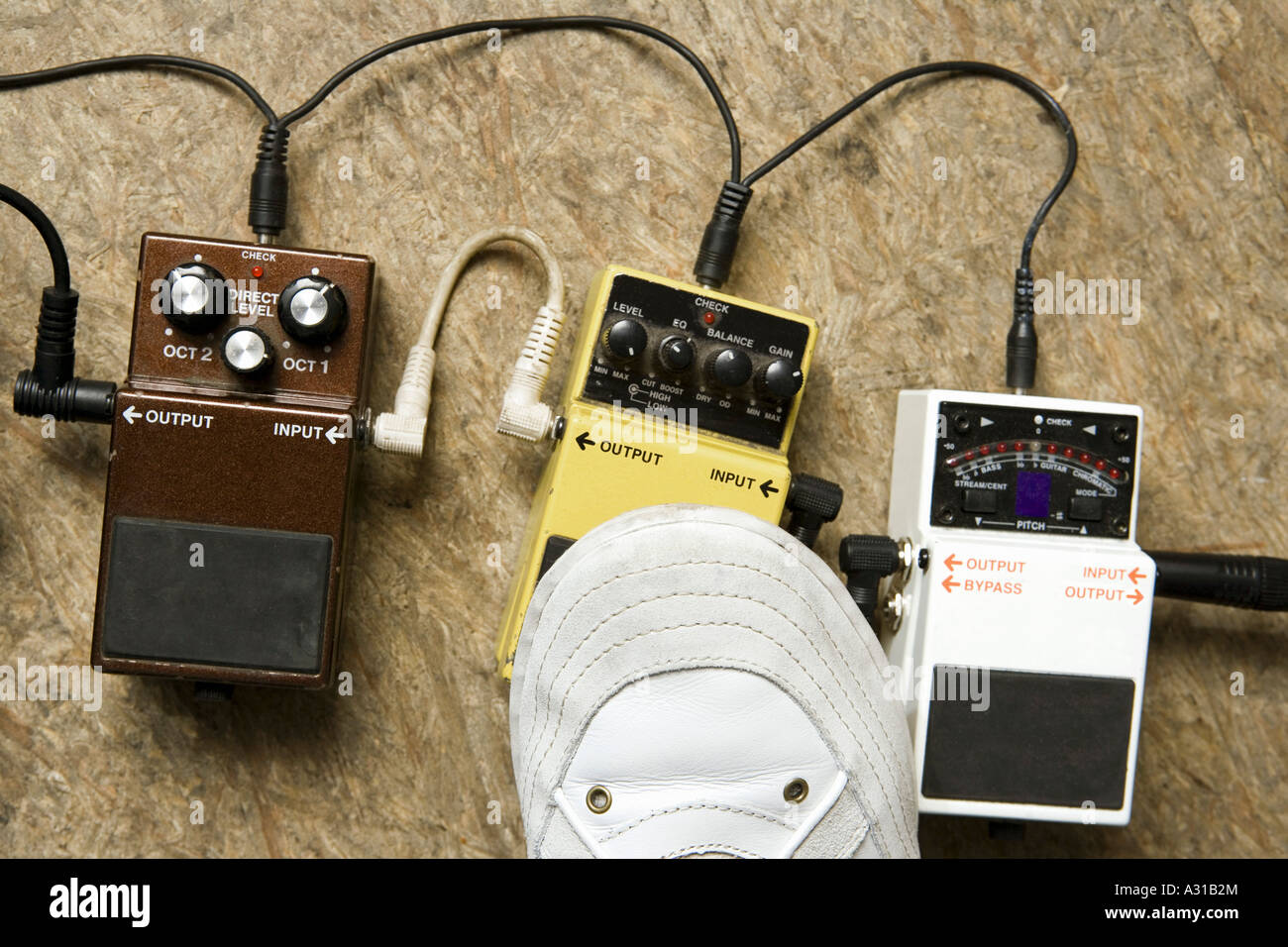 Foot distortion and effect pedals - Stock Image