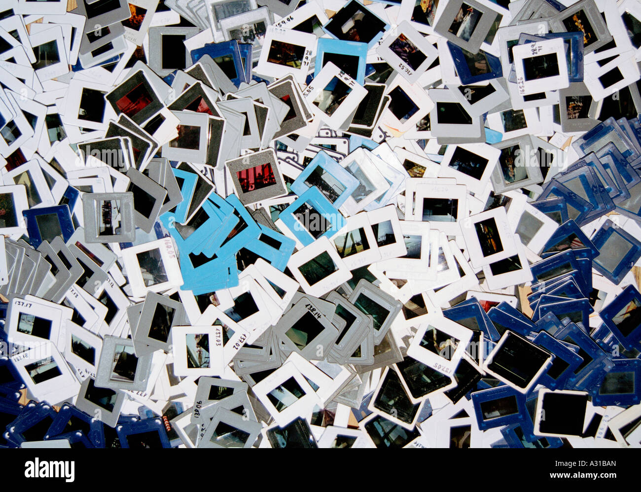 Heap of photographic slides - Stock Image