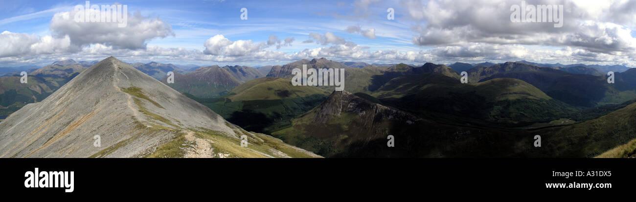 Glencoe mountains from Beinn a Bheithir above Ballachulish Stock Photo