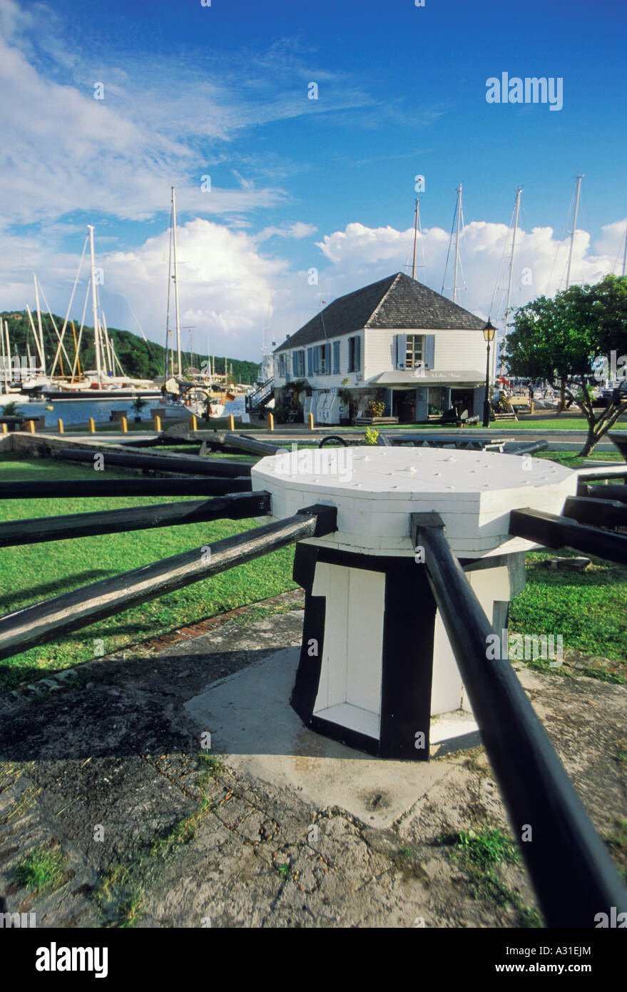 A 19th century winch in the Nelson s Dockyard National Park English Harbour Antigua - Stock Image