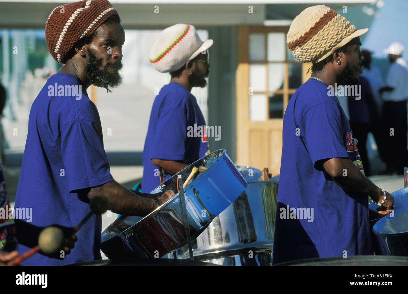 A steel band plays at Redcliffe Quay in downtown St John s capital of Antigua - Stock Image