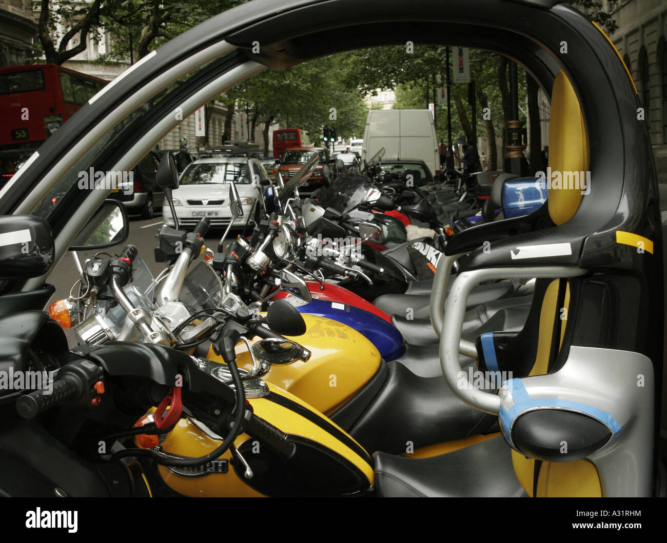 Lined up motor cycles. - Stock Image