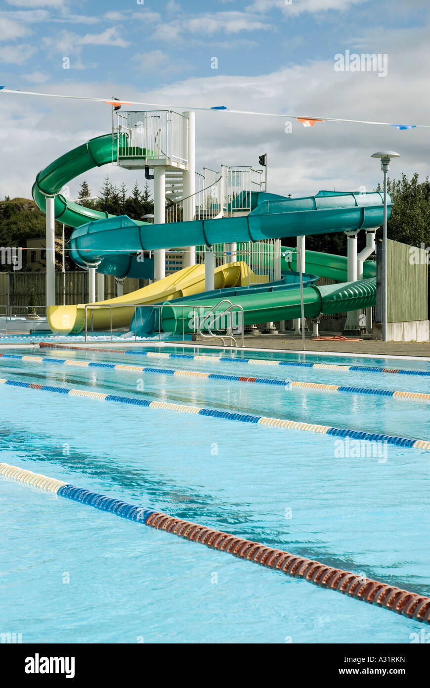 Empty swimming pool and water slides Stock Photo: 10642136 ...