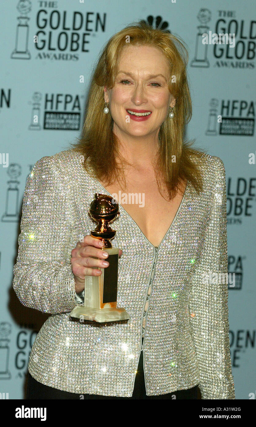 MERYL STREEP with Golden Globe Award in January 2003 - Stock Image