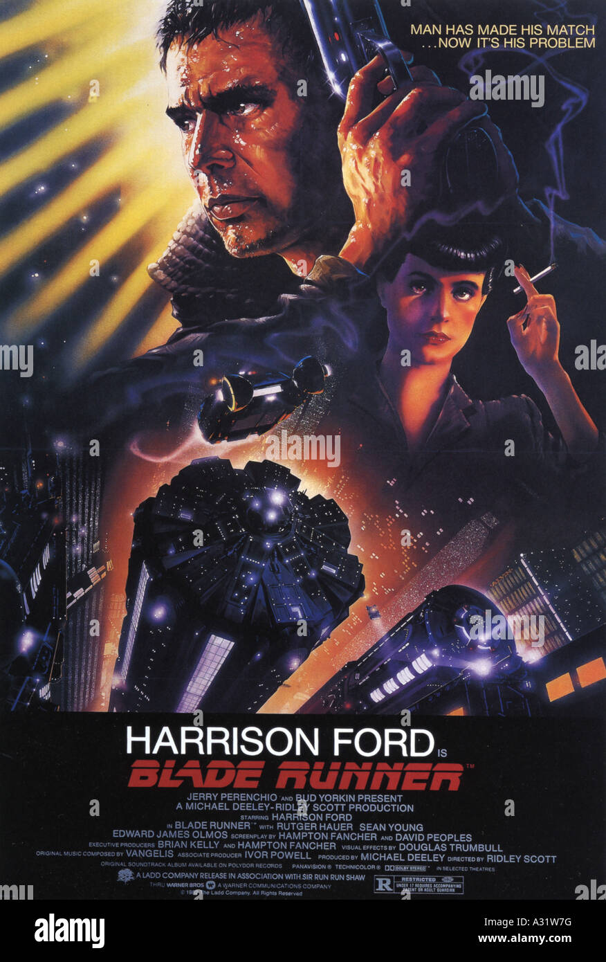 BLADE RUNNER poster for 1982 Warner film with Harrison Ford and Sean Young - Stock Image
