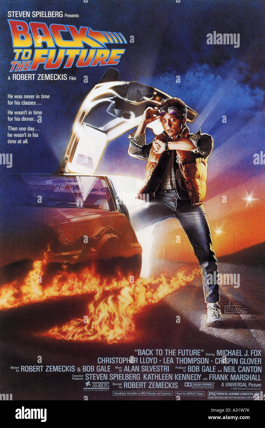 BACK TO THE FUTURE  poster for 1985 Universal/Steven Spielberg film with Michael J Fox - Stock Image