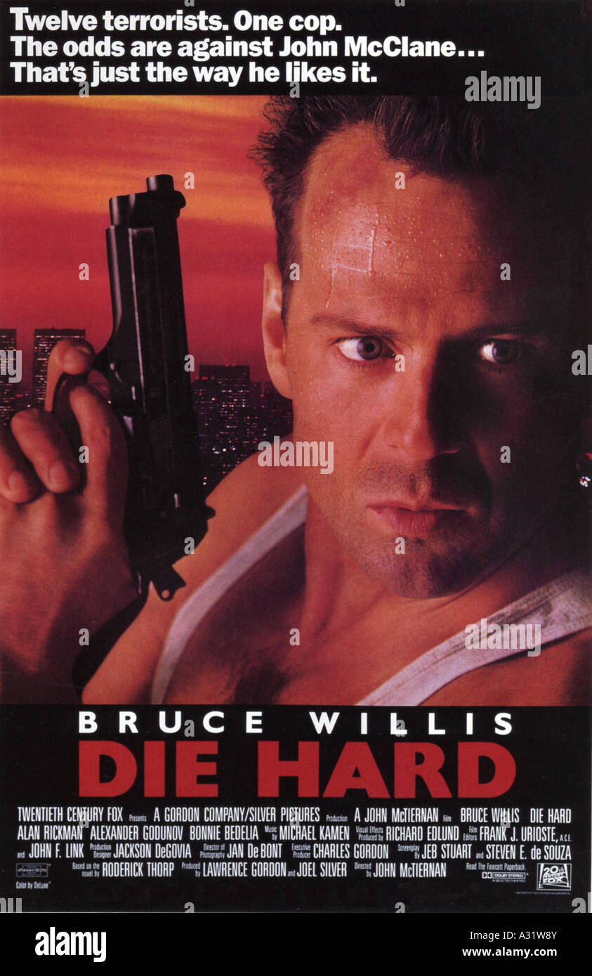 DIE HARD poster for 1988 Fox film with Bruce Willis - Stock Image