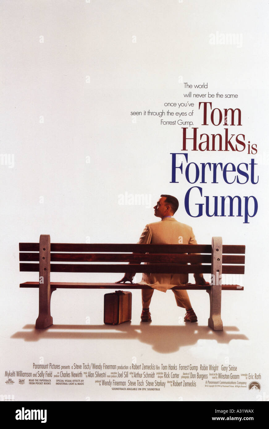 FORREST GUMP poster for 1994 Paramount film with Tom Hanks - Stock Image