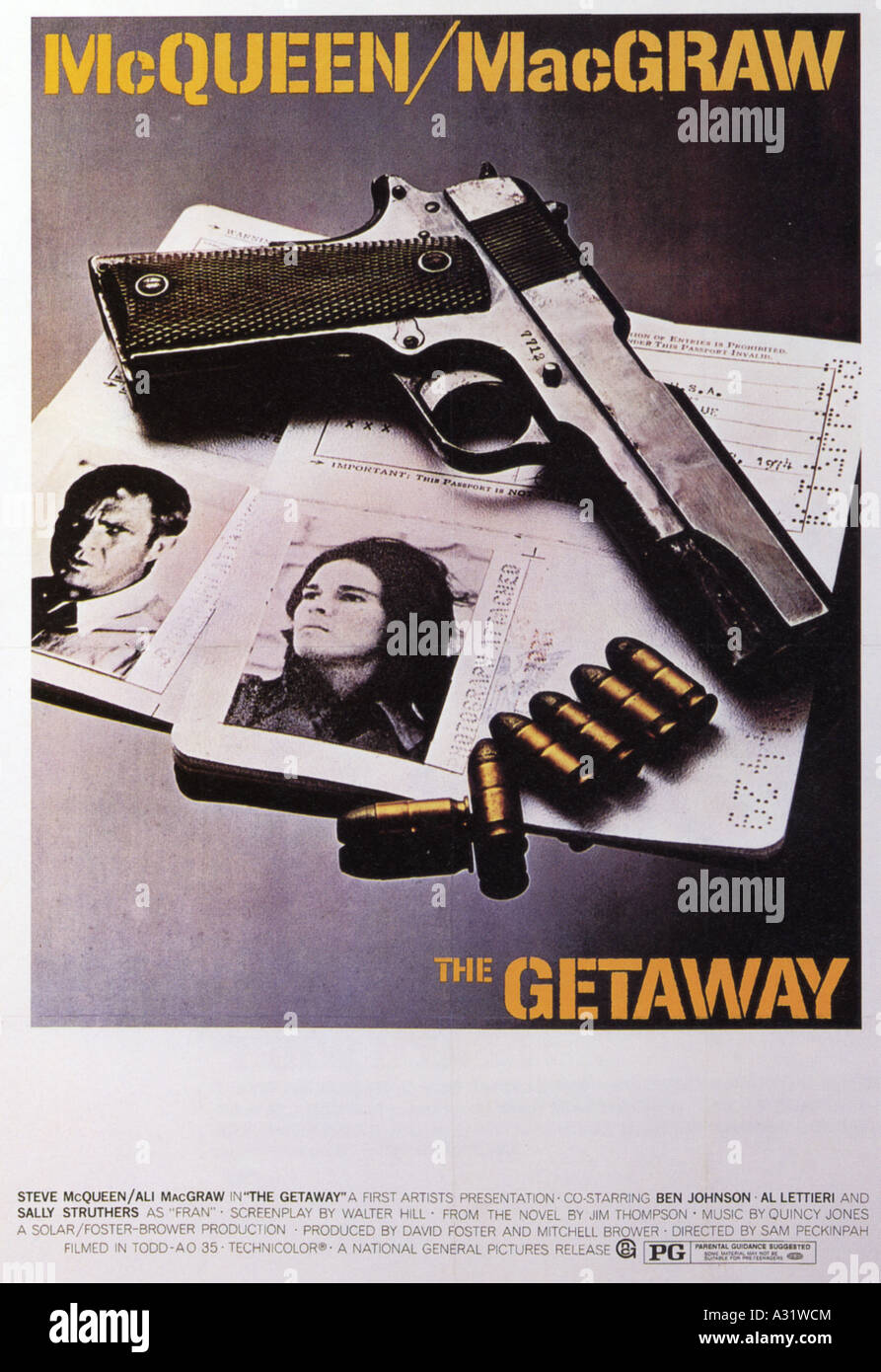 THE GETAWAY poster for 1994 Solar/First Artists film with Steve McQueen and Ali McGraw - Stock Image