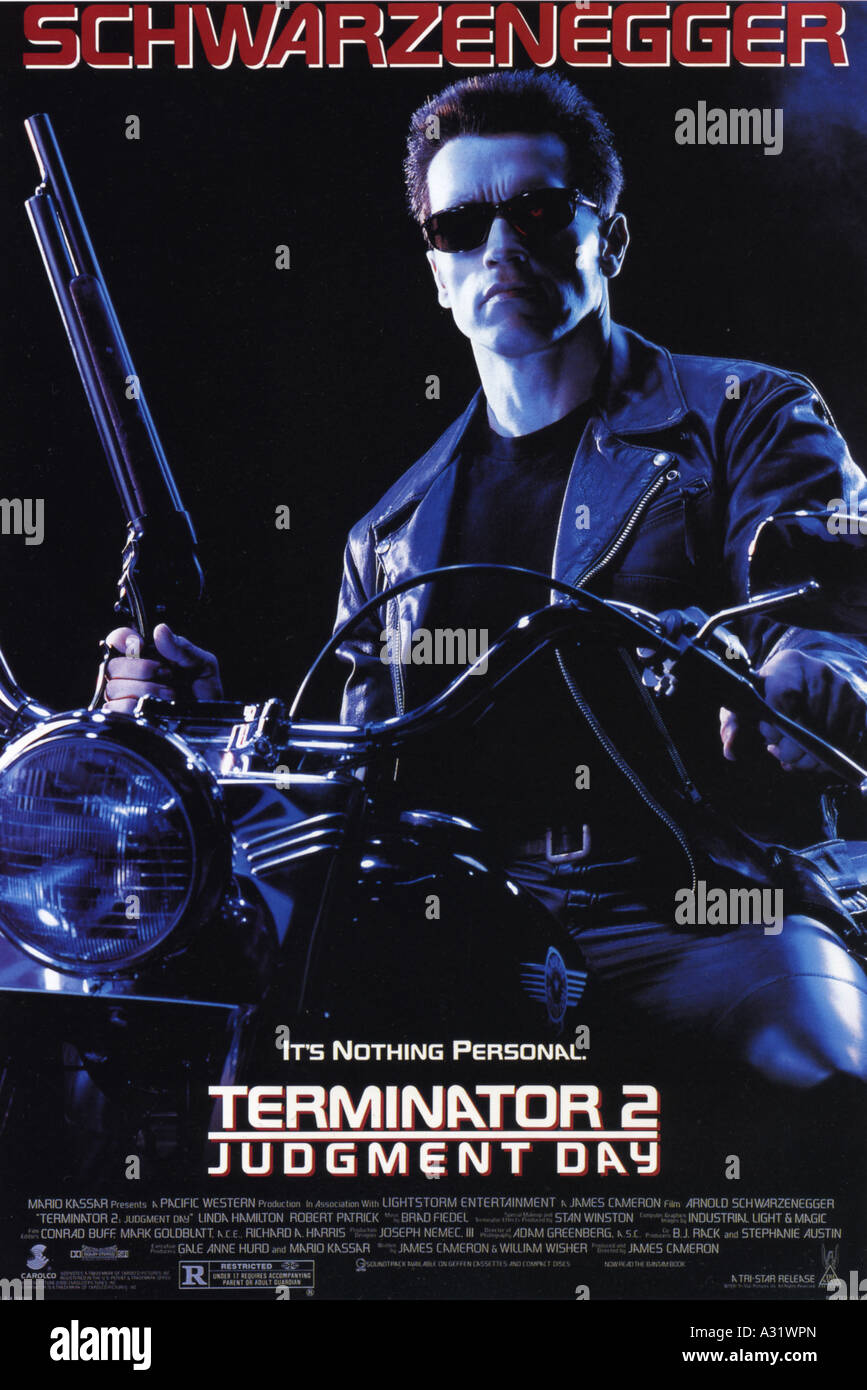 TERMINATOR 2 : JUDGEMENT DAY poster for 1984 Orion film with Arnold Schwarzenegger - Stock Image