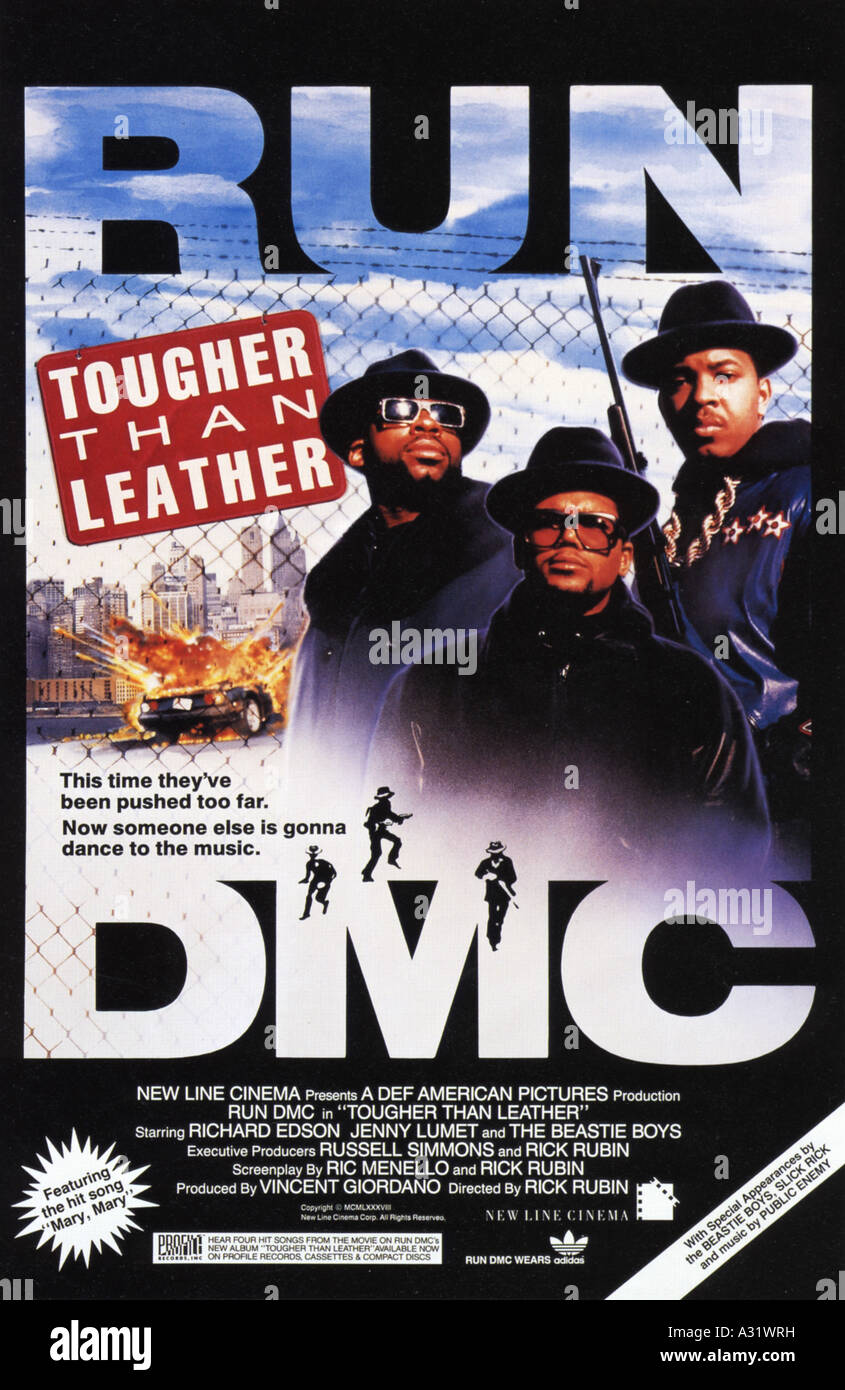 RUN DMC: TOUGHER THAN LEATHER poster for a film featuring the US rap group - Stock Image