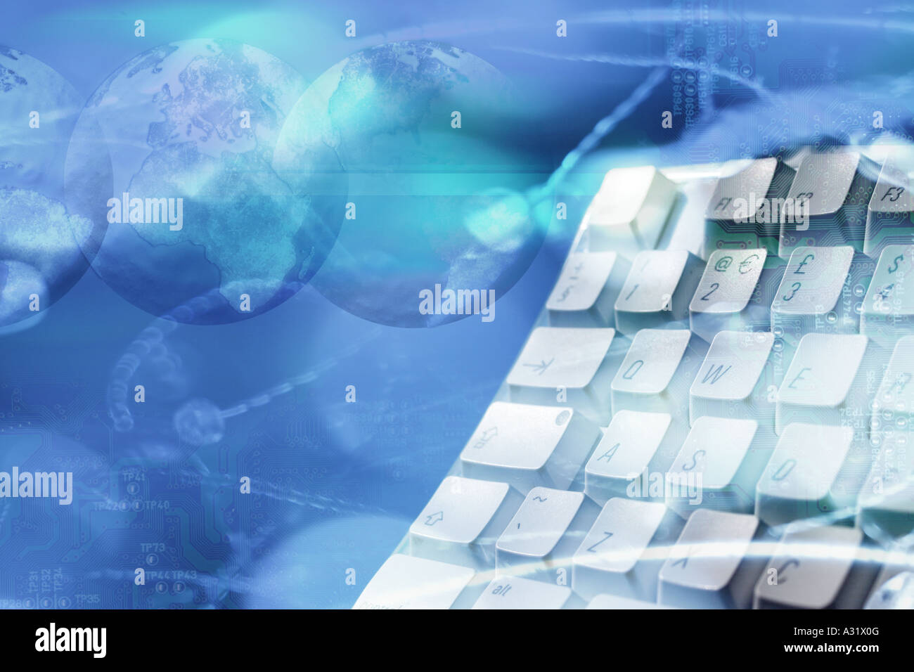 montage of computer keyboard and globes - Stock Image
