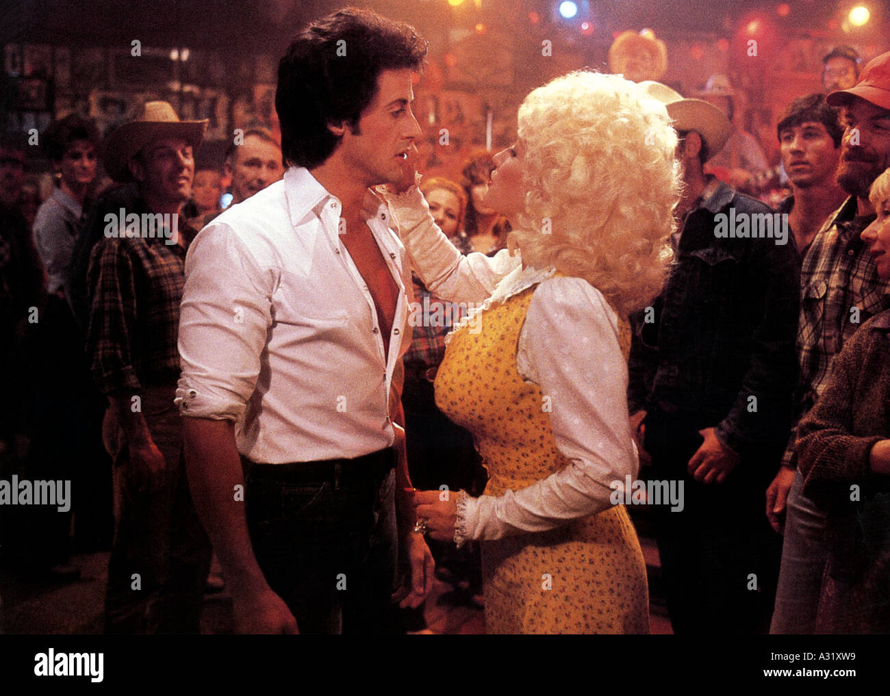 RHINESTONE Sylvester Stallone and Dolly Parton in the 1984 20th Century Fox film - Stock Image