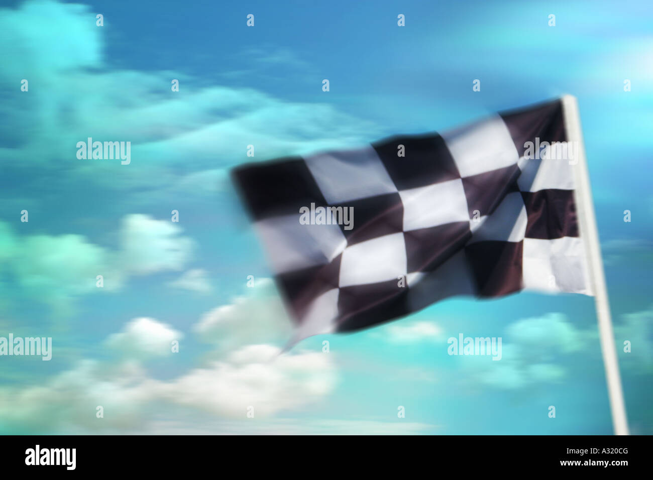 chequered finishing flag - Stock Image
