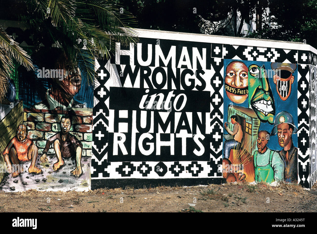 Human Wrongs into Human Rights, Wall Mural, Cape Town, South Africa - Stock Image