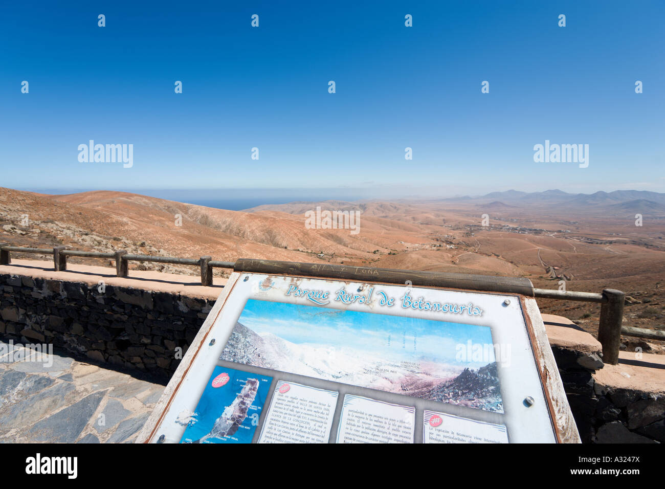 Viewpoint over a typical landscape in Betancuria Rural Park, Fuerteventura, Canary Islands, Spain Stock Photo