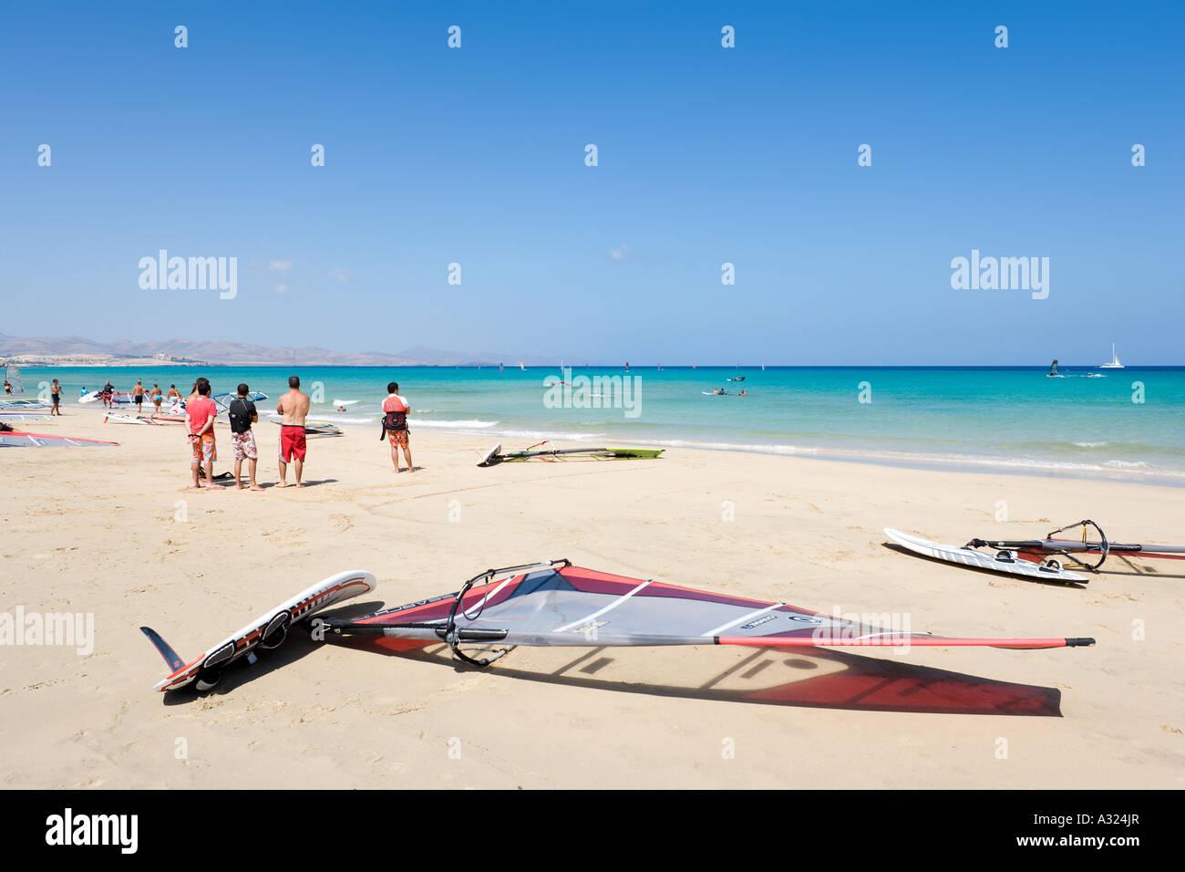 Windsurfing on Playa Barca beach, Costa Calma, Fuerteventura, Canary Islands, Spain - Stock Image