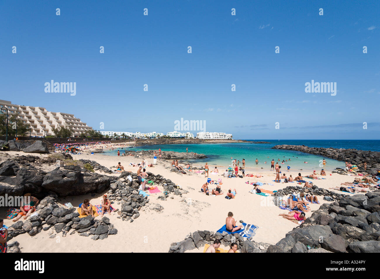 Beach at Playa del Jablillo, Costa Teguise, Lanzarote, Canary Islands, Spain - Stock Image