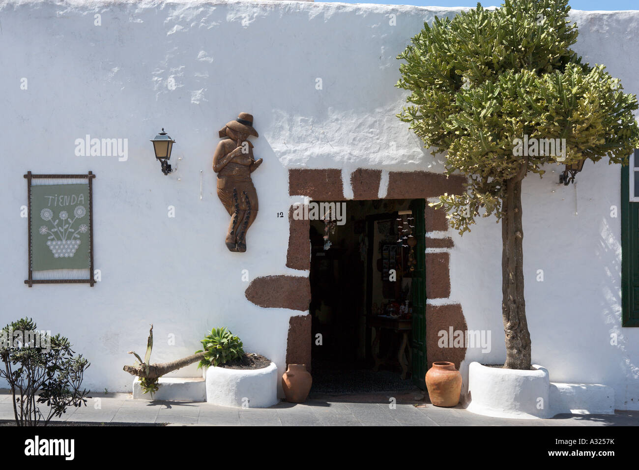Entrance to a local shop in Teguise, Lanzarote, Canary Islands, Spain - Stock Image