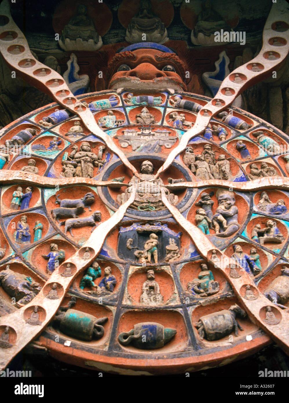 Buddhist cave carvings at Dazu China 4 - Stock Image