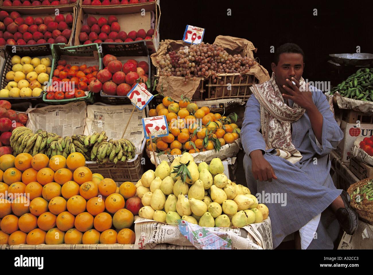 Fruit vegetable stall Stock Photo