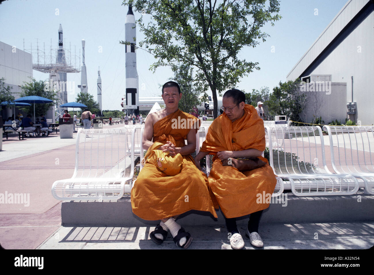 two buddhist monks at cape canaveral spaceport usa theme park 1993 - Stock Image