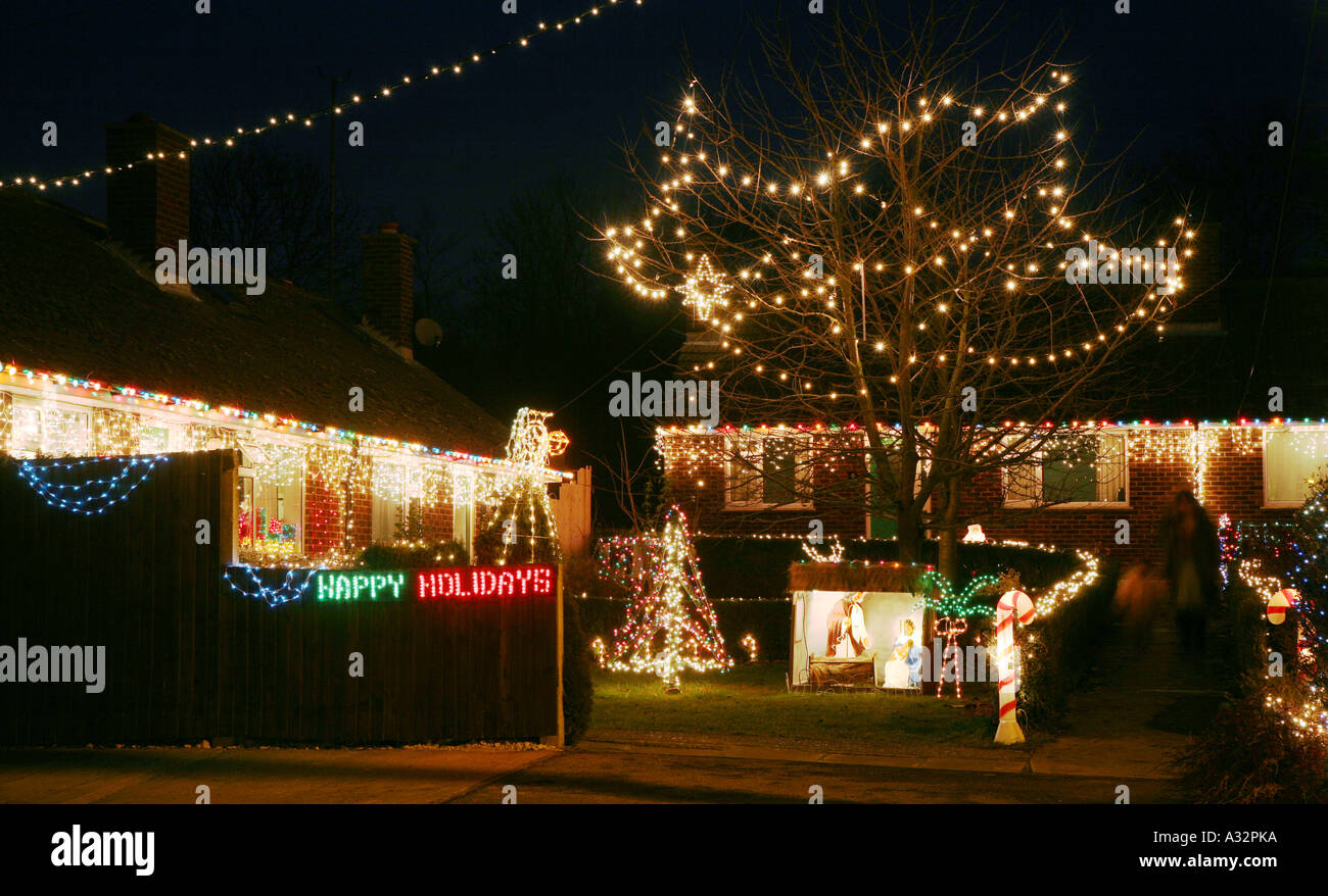 Dripping Christmas Lights.Overdecorated Houses And Gardens Dripping With Christmas