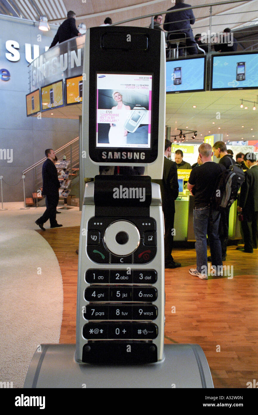 CeBIT 2005 - oversize Samsung mobile phone, Hannover, Germany - Stock Image