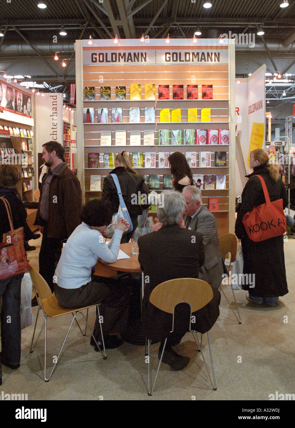 Leipzig Book Fair - visitors at the booth of Goldmann Verlag, Germany - Stock Image