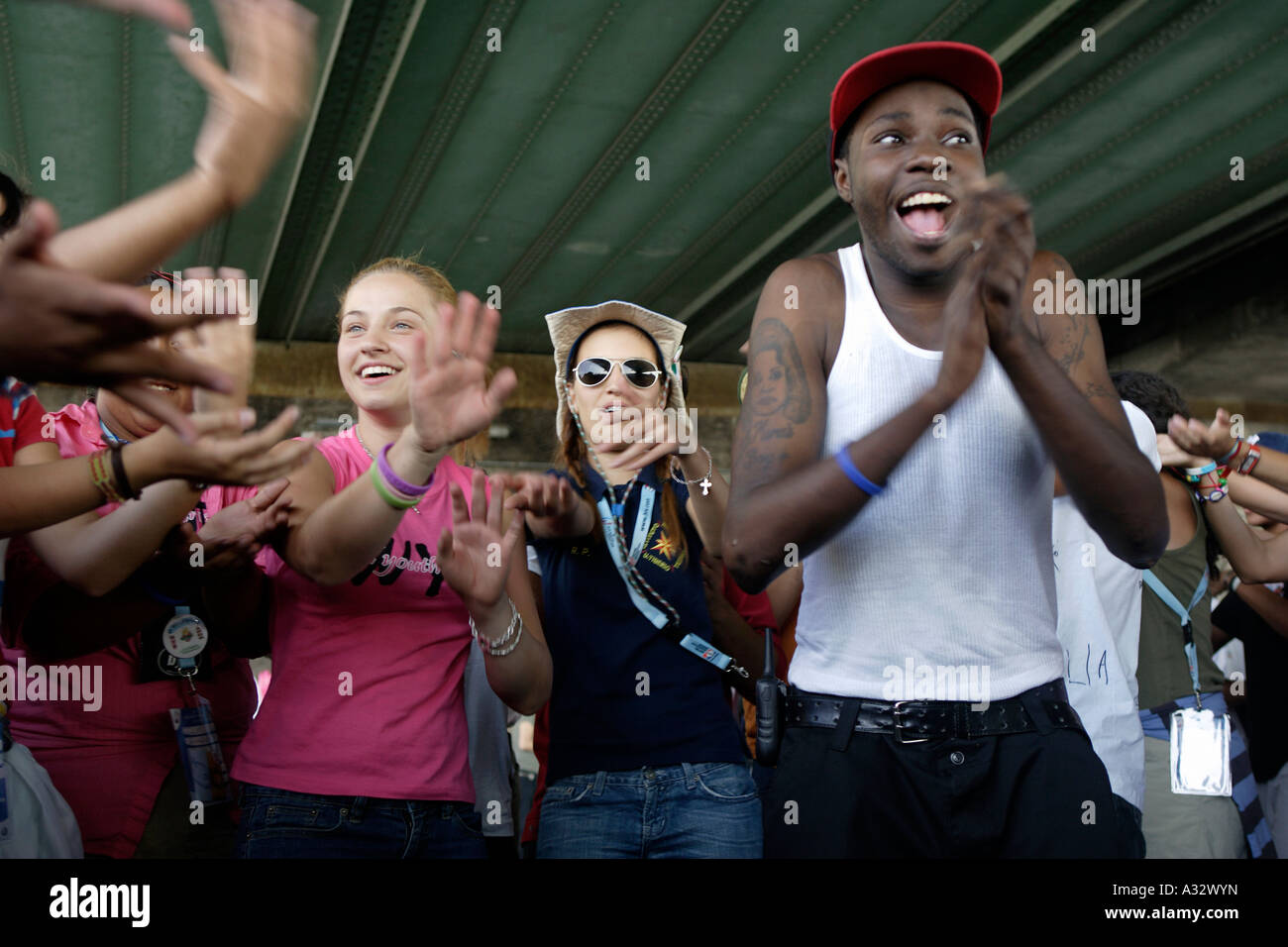 World Youth Day - young pilgrims cheering for the Pope, Koeln, Germany - Stock Image