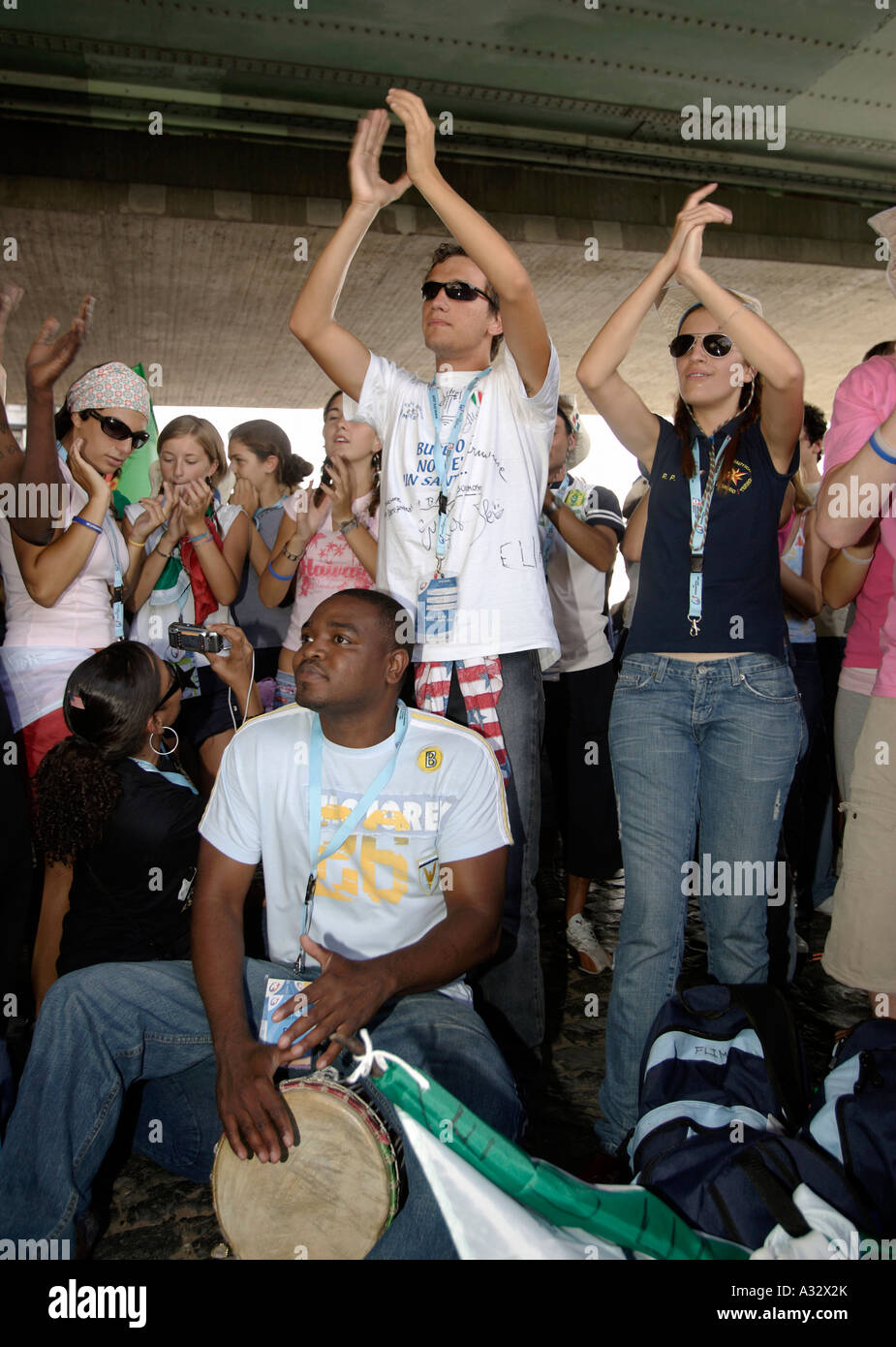 World Youth Day - young pilgrims cheering for the Pope, Cologne, Germany - Stock Image
