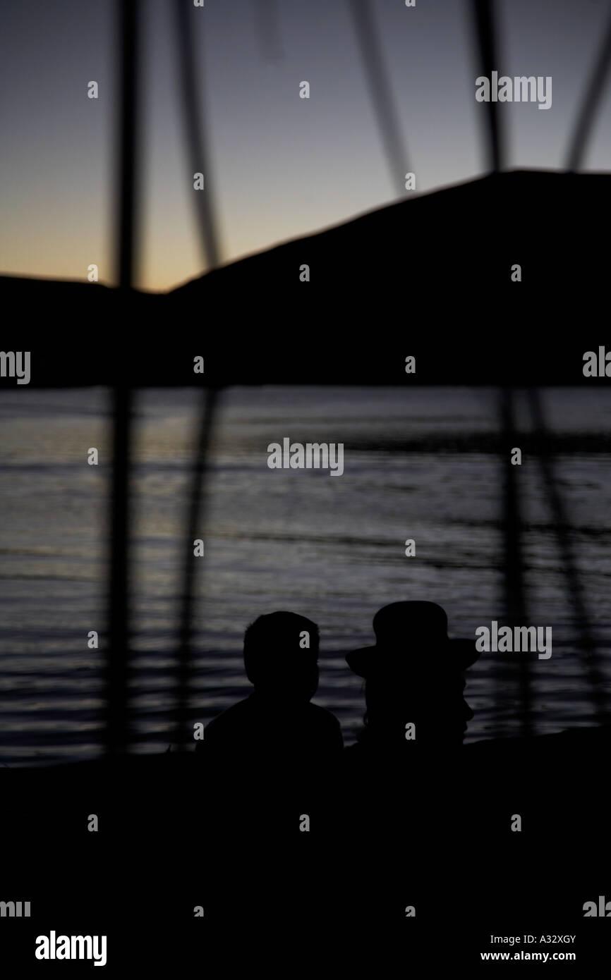 couple on lake titikaka - Stock Image