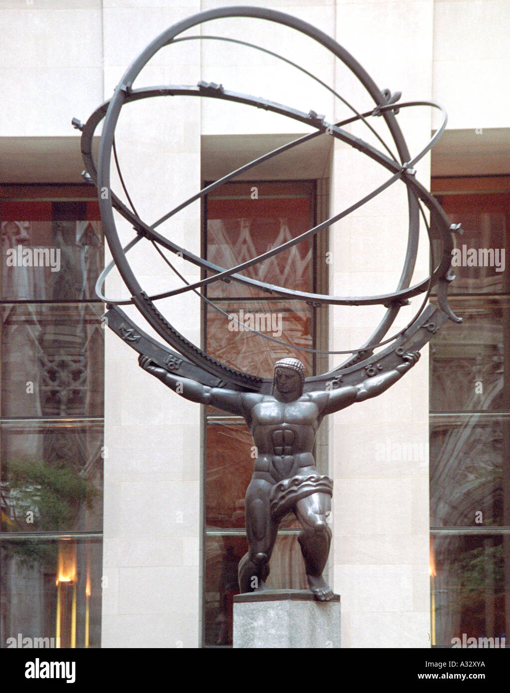 Statue of Atlas in Rockefeller Center New York City - Stock Image