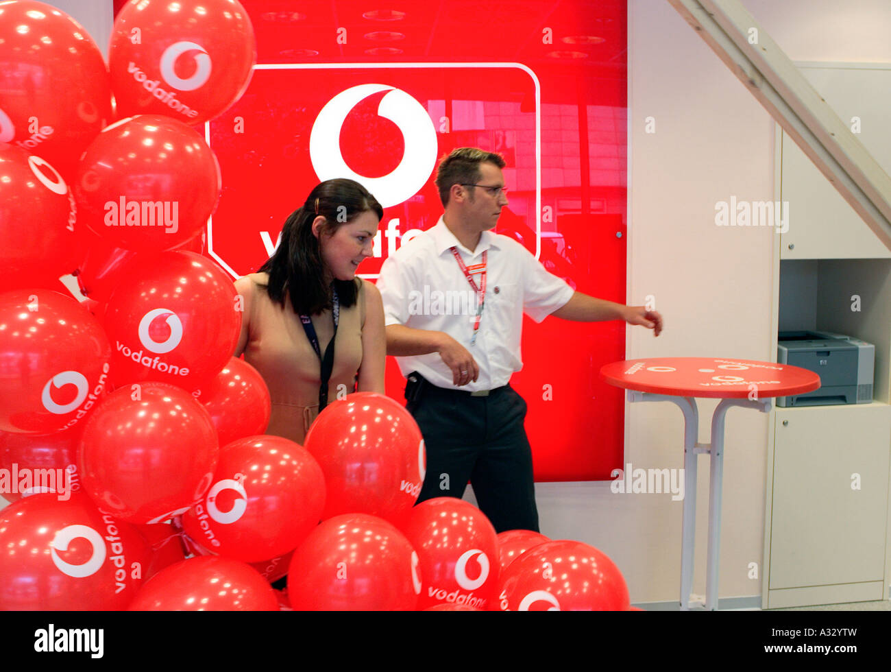 The grand opening of a Vodafone branch office, Berlin, Germany - Stock Image