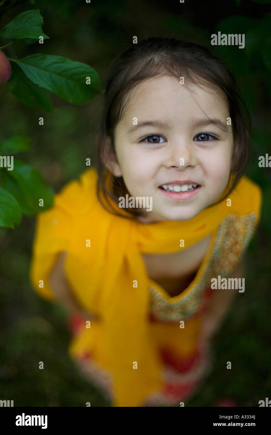 Pretty young girl in a sari - Stock Image