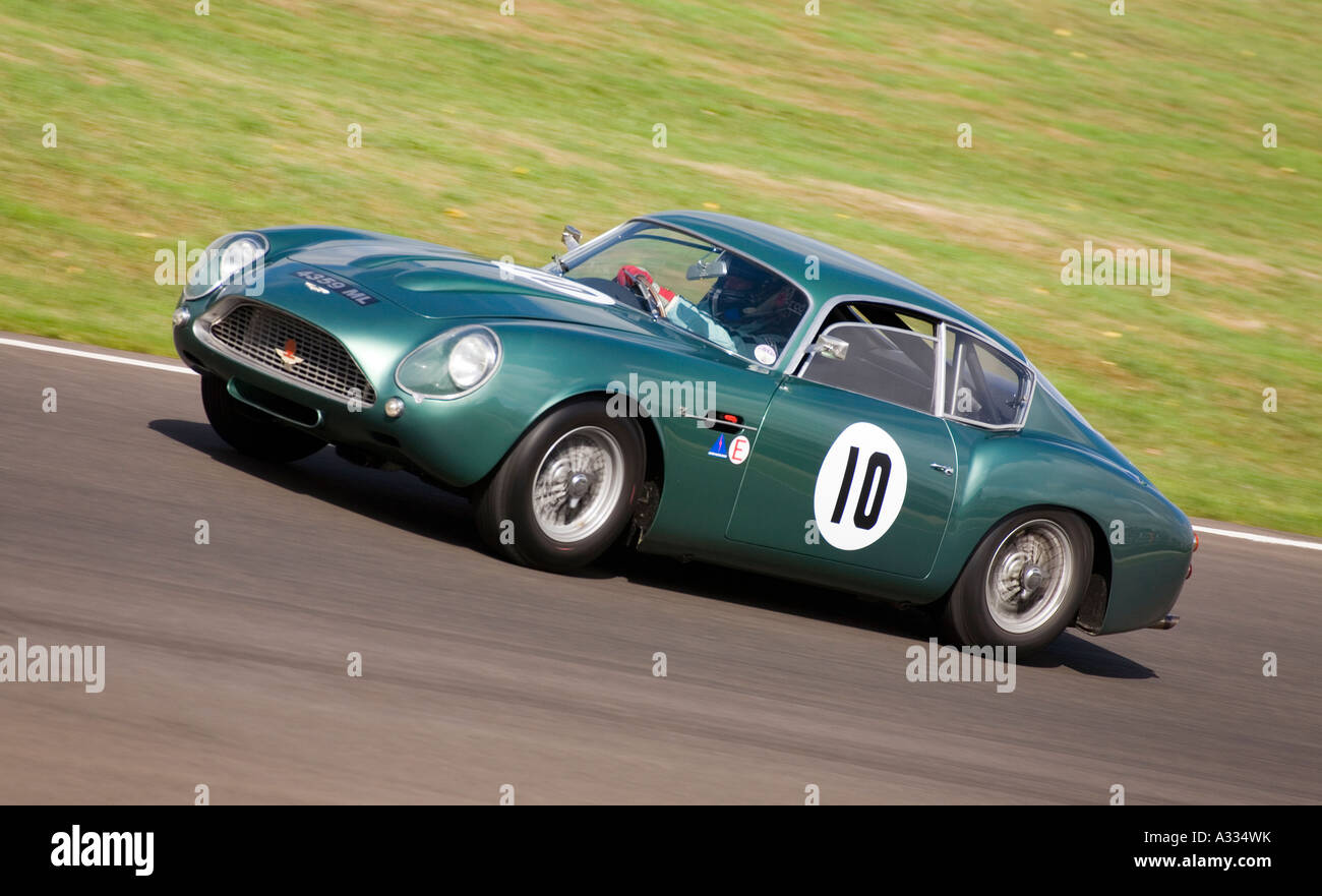 1962 Aston Martin DB4 GT Zagato during the Royal Automobile Club TT Celebration race. - Stock Image