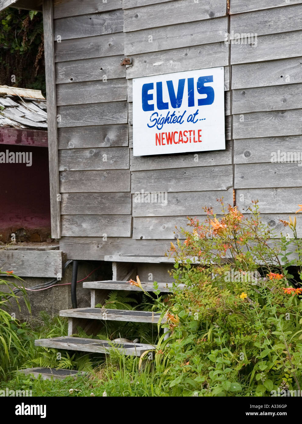 Elvis sighted at Newcastle sign nailed to shed door Bamfield Vancouver island Canada - Stock Image