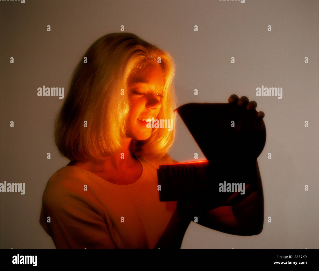 Mysterious glowing box A98 - Stock Image