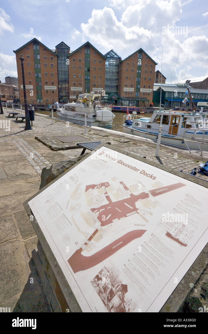 Information board and Gloucester City Council offices in converted warehouses at Gloucester Docks Stock Photo