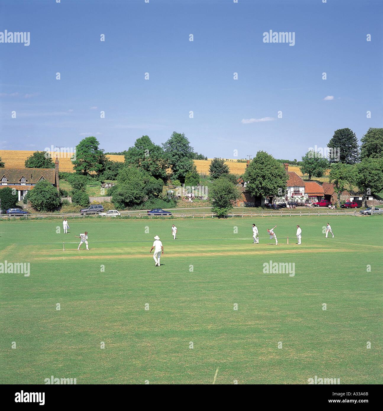 Cricket at West Ilsley Stock Photo