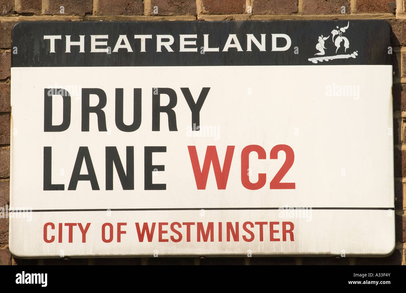 """""""Covent Garden""""  west central London England  Theatreland 'street sign' for 'Drury Lane' [City of - Stock Image"""