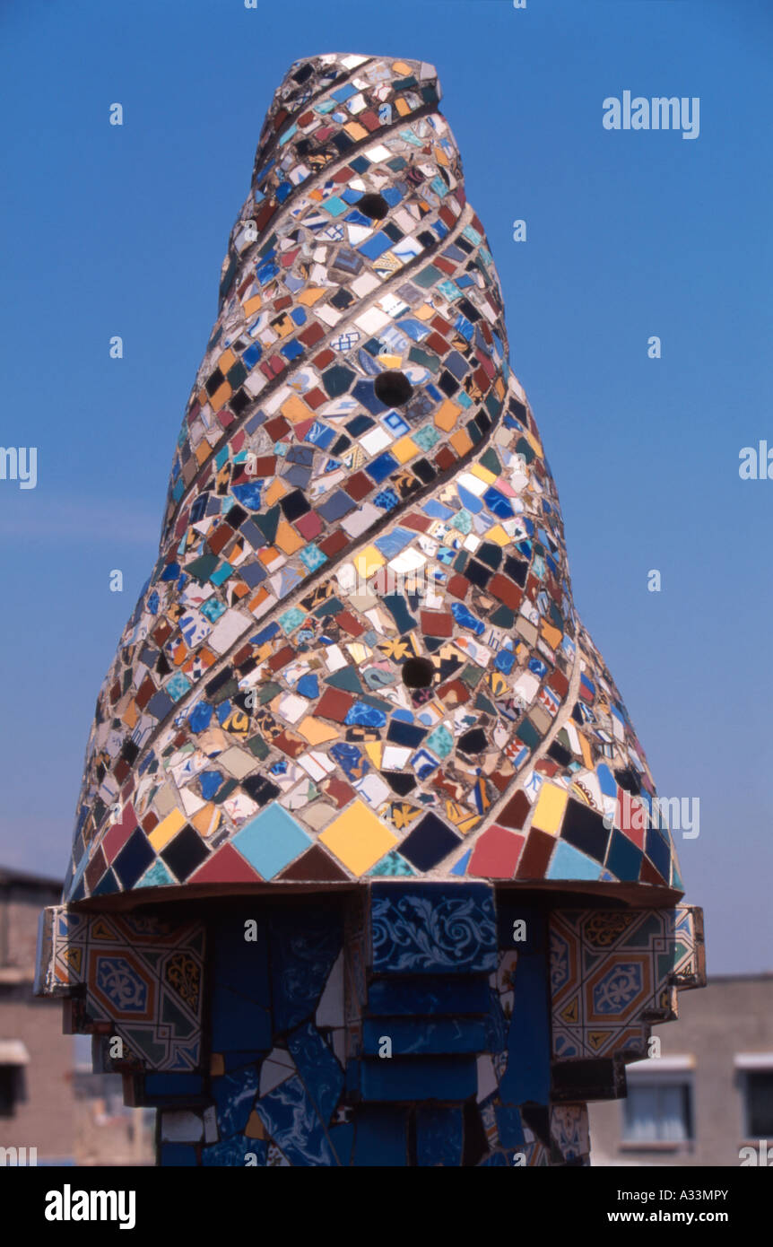 One Of The Chimneys On The Roof Of Palau Guell By Antoni