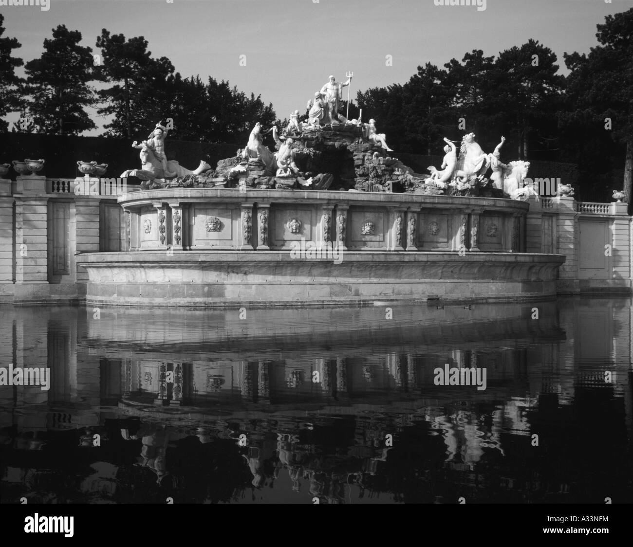Neptune Fountain at Schonbrunn Palace  Vienna Austria - Stock Image