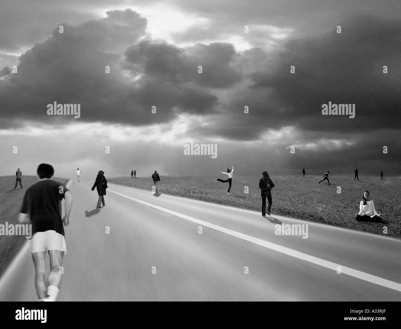 People varied activities BD7 - Stock Image